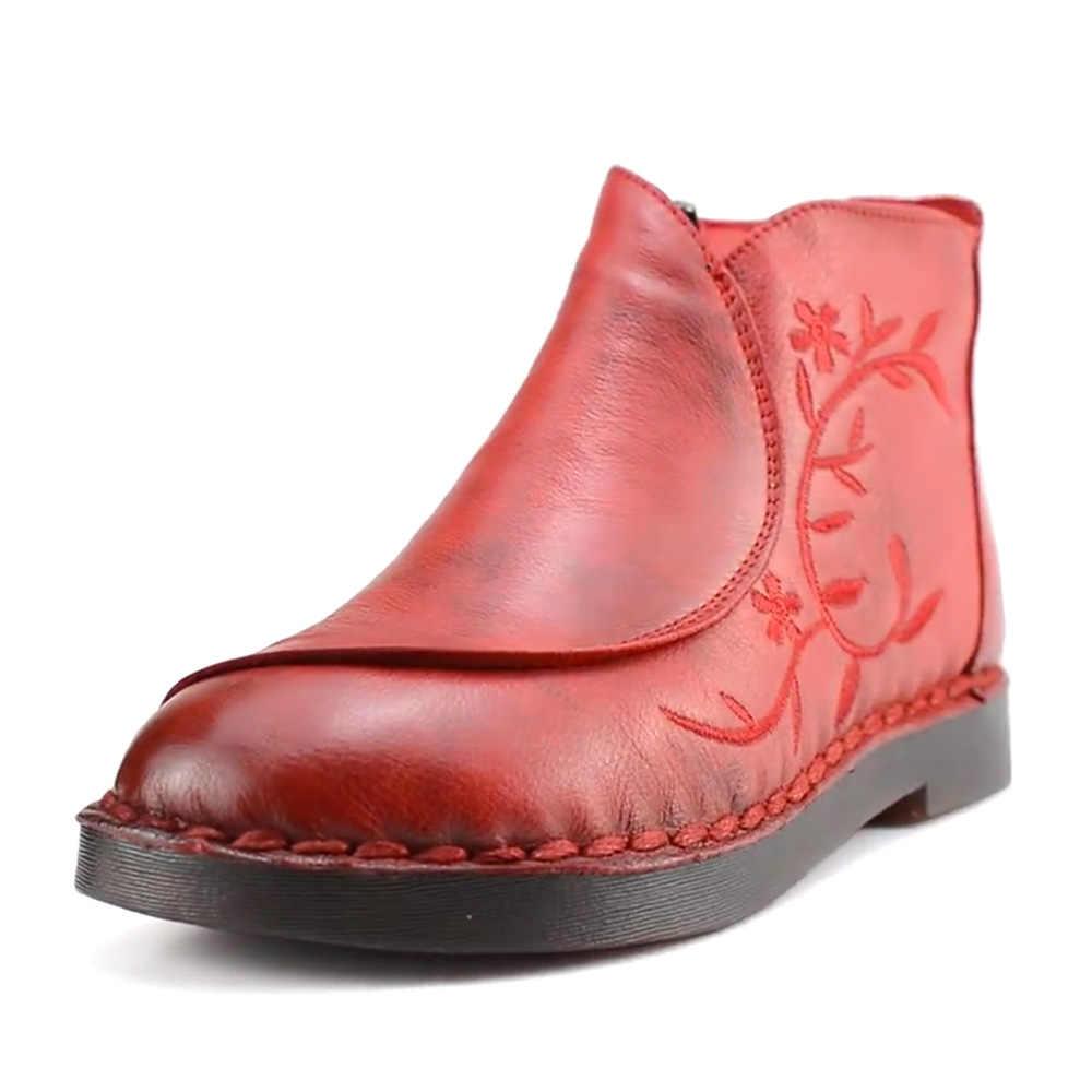 232876cc73c6 Ylqp дамы из натуральной обувь из кожи и меха Сапоги Мода вышивать Для  женщин сапоги ...