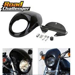 Motocykl przednia osłona motor terenowy czarny reflektor dla Harley 883 48 1200 przedni widelec do montażu na Dyna Sportster XLCH