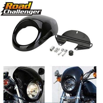 Motorcycle Front Cowl Dirt Bike Black Headlight Fairing For Harley 883 48 1200 Front Fork Mount Dyna Sportster XLCH motorcycle front chin fairing spoiler mudguard for harley sportster 1200 883 2004 2018 2017
