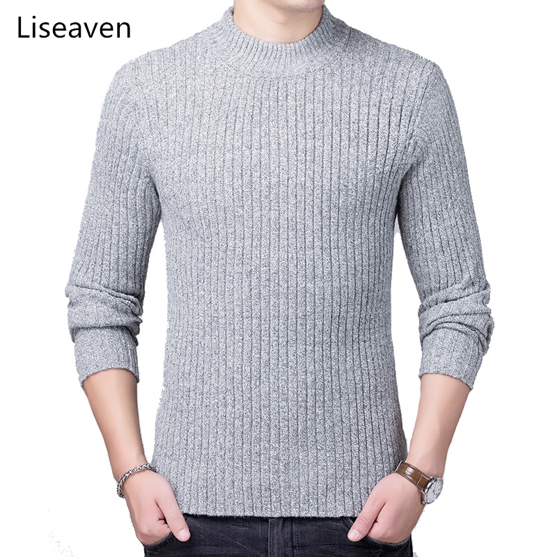 Liseaven Men Pullovers Knitwear Solid Color Sweaters Men's Clothing Warm Pullover Sweater 8214
