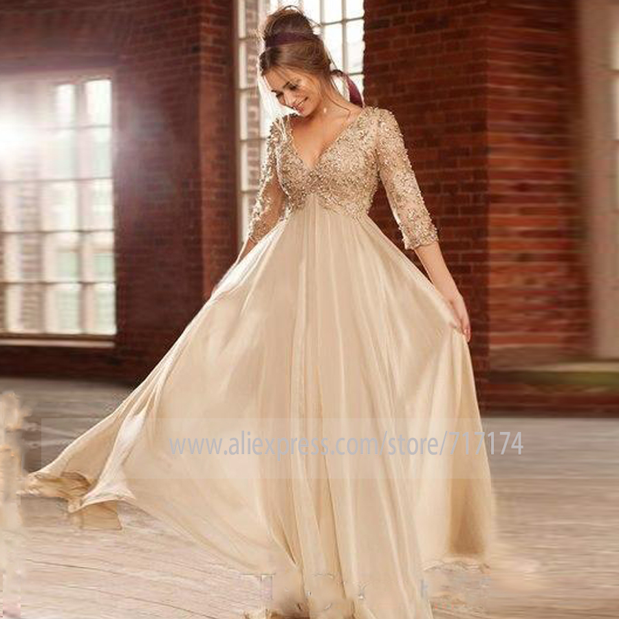 Vintage Long Sleeves Lace V Neck Evening Dress With Beads Pearls A Line Party Prom Party