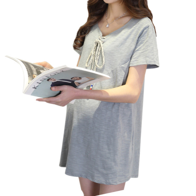 d75f0f41e1bd3 Short Sleeve Stitching Maternity T Shirt Dresses Loose Pregnancy Tops for  Summer Maternity Clothes for Pregnant Women