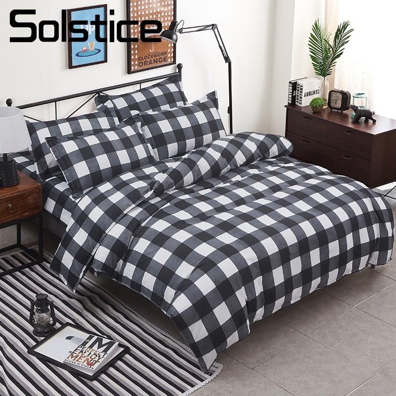 Solstice домашний текстиль король полный комплект белья двуспальный человек ребенок подростков постельное белье плед решетки пододеяльник, на