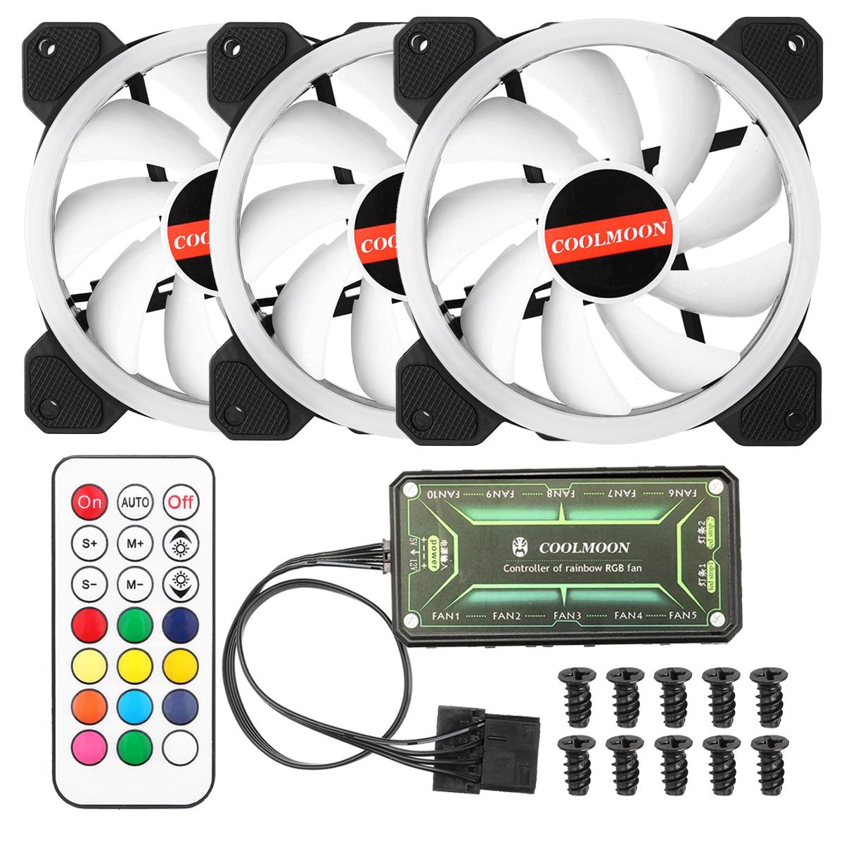 12V RGB 3Pcs Silent 120mm USB Cooling Fan for Computer Cases CPU Cooling LED