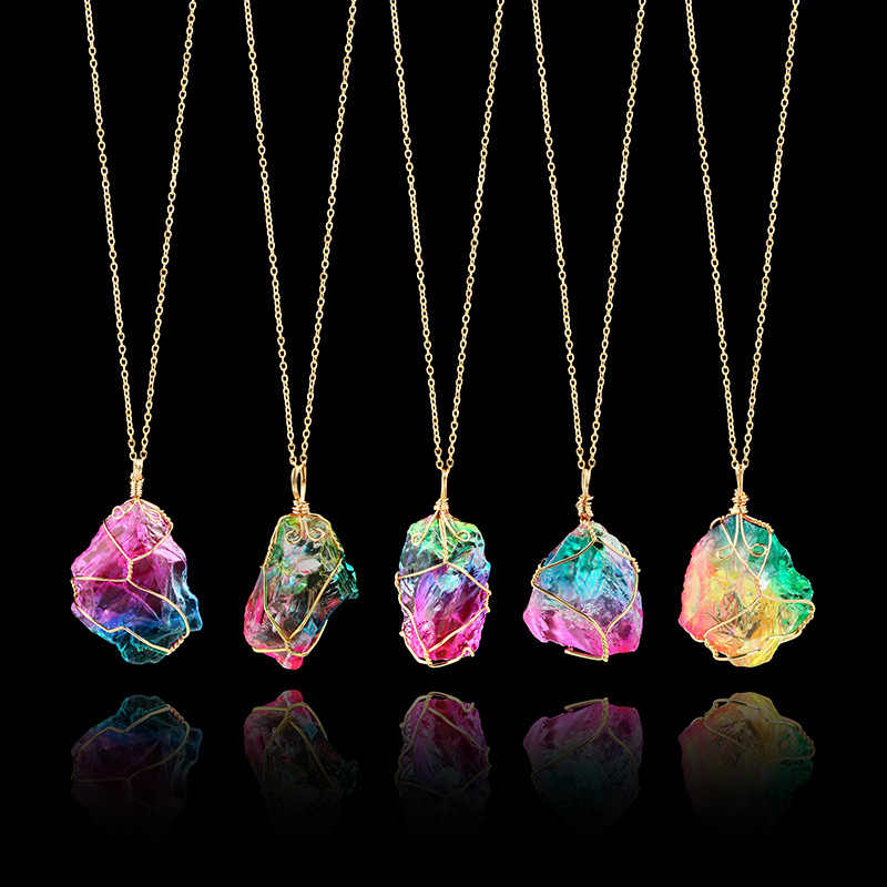 Rainbow Natural Stone Pendant Necklace Fashion Crystal Chakra Rock Necklace Gold Color Chain Quartz Long Necklace For Women Gift