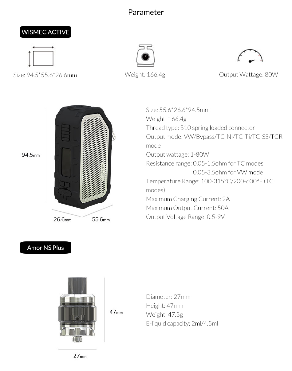, [IN STOCK]Original Wismec Active with Amor NS Plus Tank 4.5ml adopte bluebooth waterproof mod box Electronic cigarette vape kit