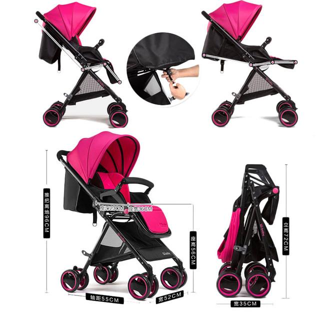 Wangbaby alta paisagem carrinho de bebê carrinho de criança pode sentar mentindo ultra inverno carrinho de bebê do carro guarda-chuva dobrável portátil