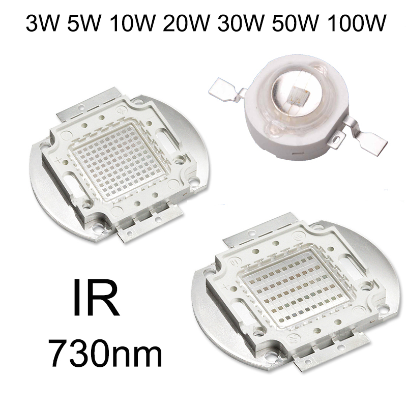 High Power LED Chip Infrared 730nm IR LED 3W 5W 10W 20W 30W 50W 100W 730 nm Light Lamp COB LED Beads for Night Vision Light high quality 730nm 740nm ir led chip 10w 20w 30w 50w 100w led lamp epileds led chip for detecting sensor laser flashlight