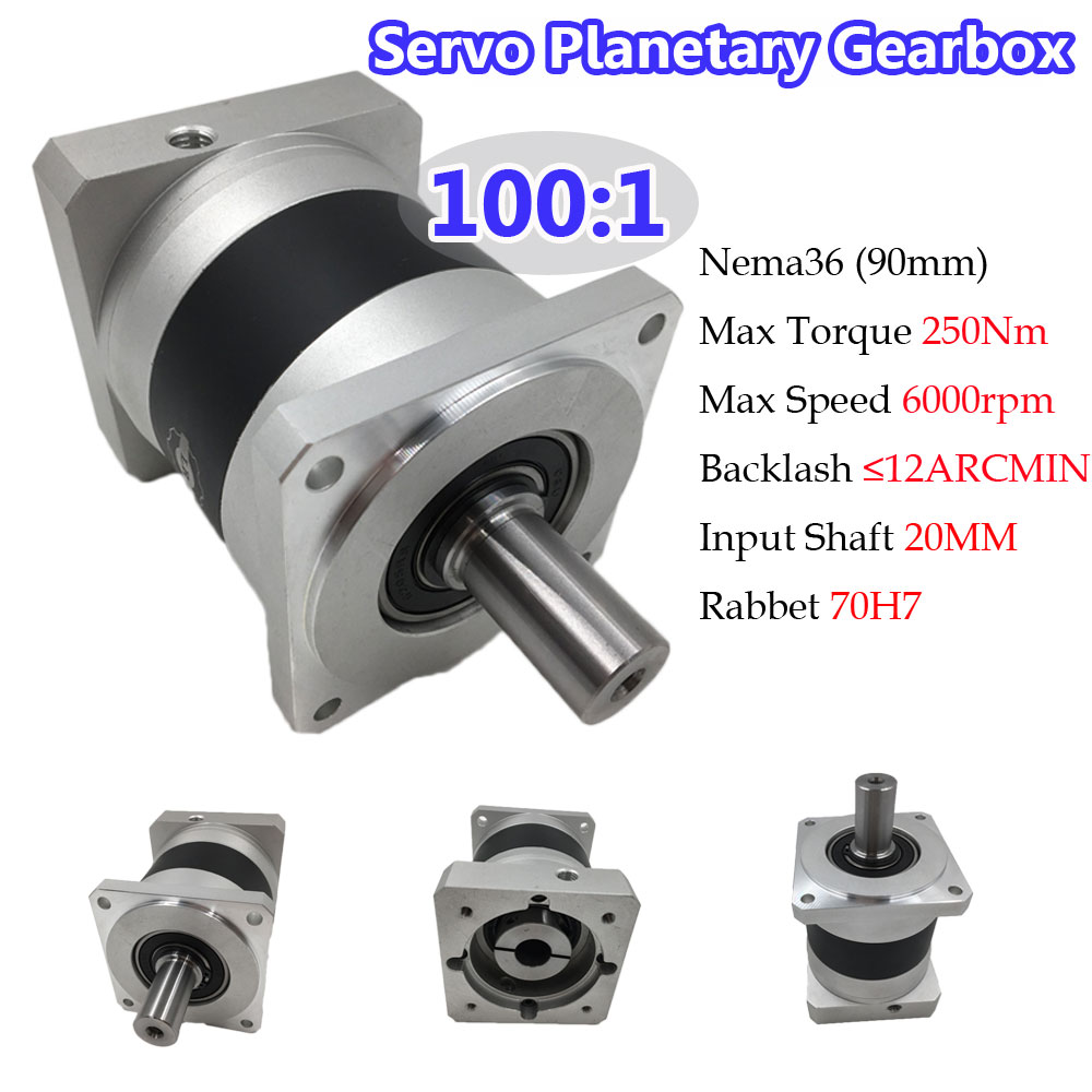 Gear Ratio 100:1 Nema36 Planetary Gearbox 12ARCMIN Input Shaft 20mm 250Nm Torque 6000RPM for 90mm Servo Motor planetary gear box pgl60 100 sesame double stage size 60 ratio 100 norminal output torque 25nm new