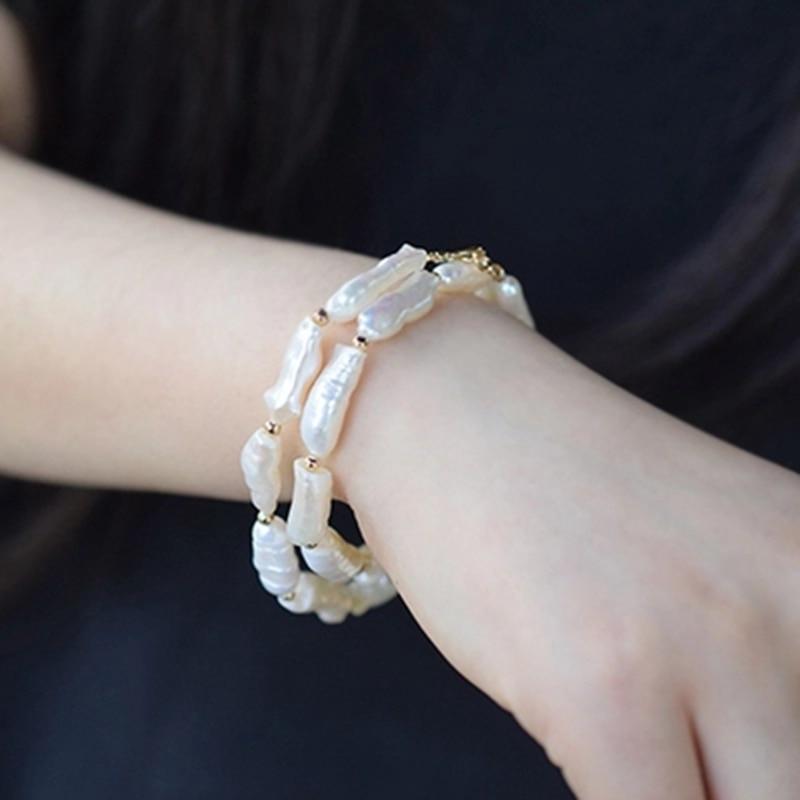 Perle Baroque blanche 925 argent Sterling couleur or homard fermoir 2 rangées Bracelet bijoux de mode 40 cm-50 cm