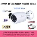 Onvif Mini Bala IP Câmera De Segurança De 2mp HD 1080 p P2P Áudio Camara CCTV Rede H.264 Megapixel IP Cam Arma infravermelho Alerta de E-mail