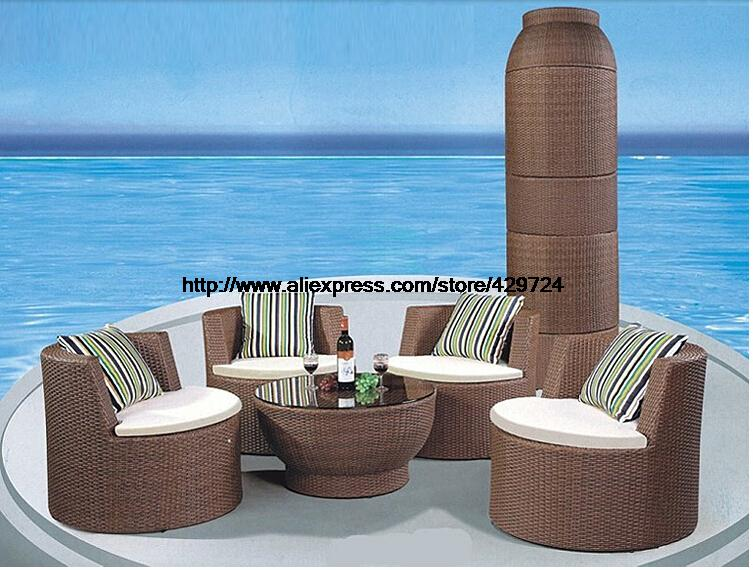 цены Creative Rattan Furniture Bottle Shaped Outdoor Sofa Set Garden Furniture Chair Table Sofa Set Wicker Patio Furniture HFA110
