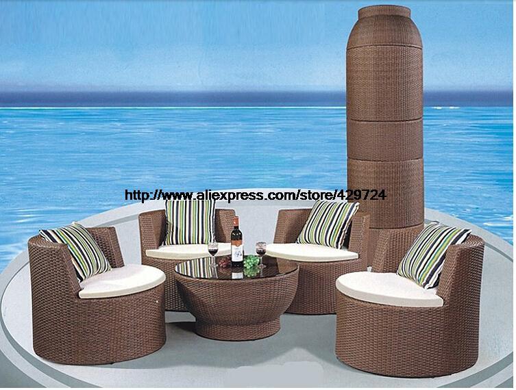 Creative Rattan Furniture Bottle Shaped Outdoor Sofa Set Garden Furniture Chair Table Sofa Set Wicker Patio Furniture HFA110