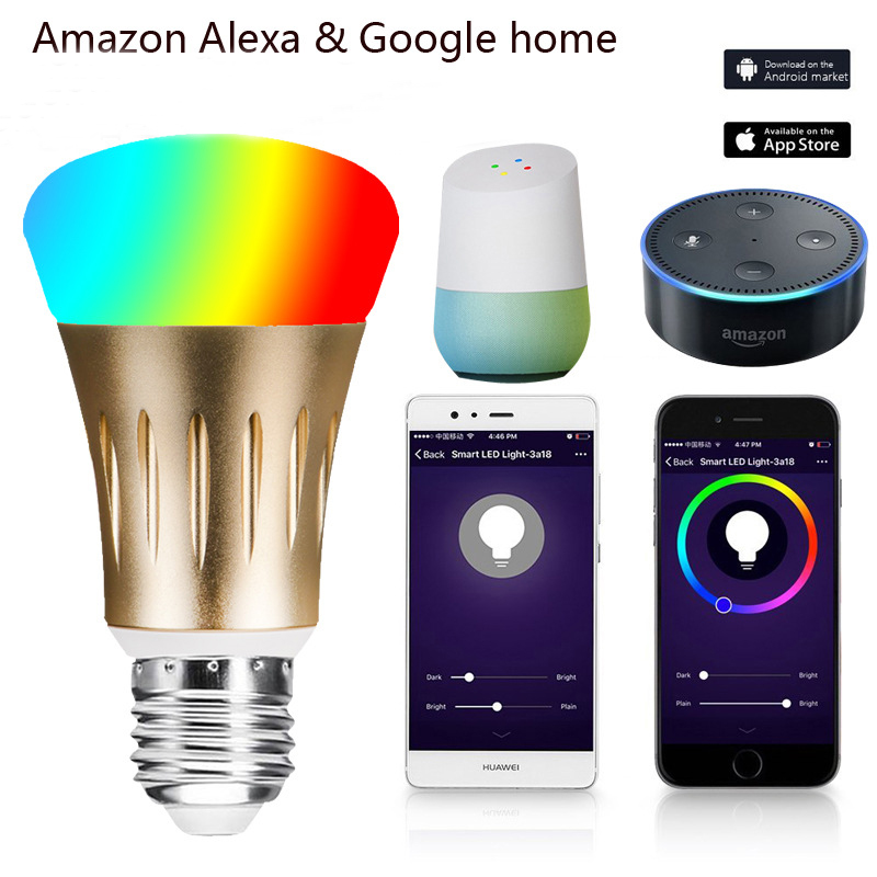 Inteligente bombilla 7 W E27 Wifi Smart LED de luz inalámbrica lámpara de bulbo trabaja con Alexa de Amazon, Google IFFFT RGB control remoto