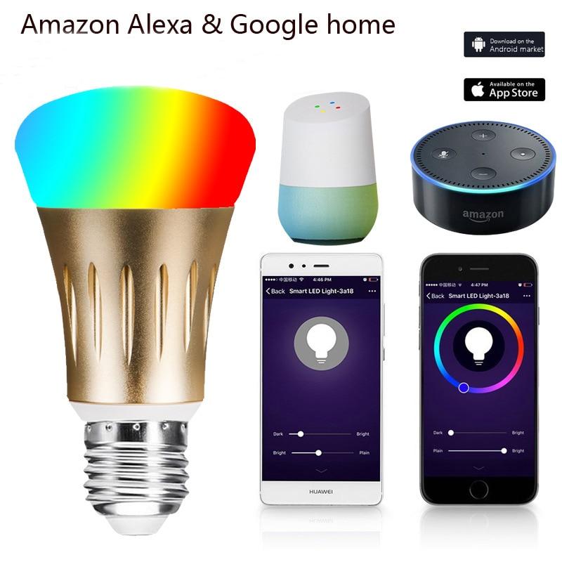 Intelligente lampadina 7 w E27 Wifi Intelligente HA CONDOTTO LA Luce Senza Fili Della Lampada Della Lampadina Funziona con Amazon Alexa Google Casa IFFFT RGB a distanza di Controllo