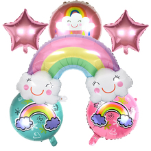 Free Shipping Wedding Balloons 6pcs/set Sun Stars Smile Rainbow Foil Birthday Party Baby Shower Decoration ord