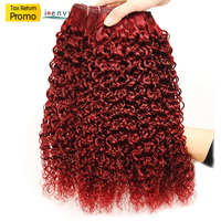 99J Human Hair Bundles Brazilian Hair Weave Bundles Red Curly Hair Bundles Deals Afro Kinky Curly Human Hair Extensions Nonremy