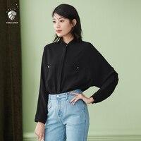 FANSILANEN 2017 Fashion Summer Spring Women Blouse Shirts Feminine Blouses Clothing Chiffon Female Black Loose Bat