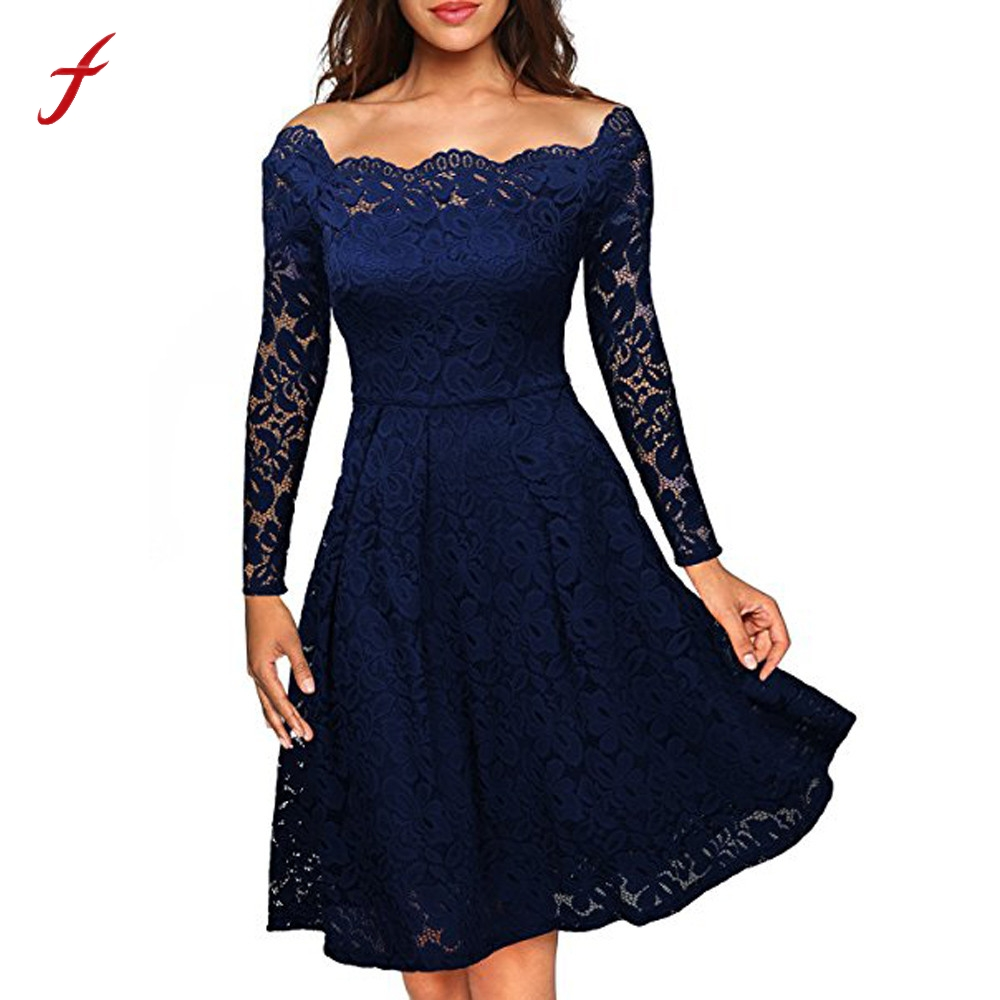 2017 Autumn Women's Floral Lace off shoulder round neck Long Sleeve Boat Neck Cocktail Formal Swing Long Sleeve Retro dress