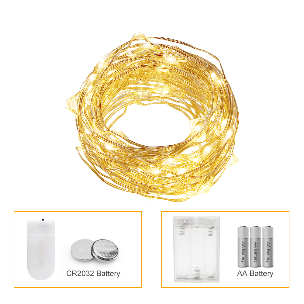 ANBLUB 2m 3m 5m 10m LED String Light AA Battery Operated Outdoor Indoor Christmas Decoration Garland Fairy Lights CR2032 Battery(China)