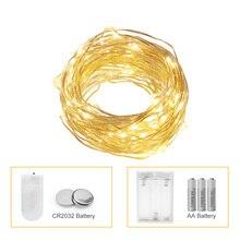 ANBLUB, 3 м, 5 м, 10 м, светодиодный светильник, AA, на батарейках, для улицы, в помещении, Рождественское украшение, гирлянда, сказочный светильник, s CR2032 батарея