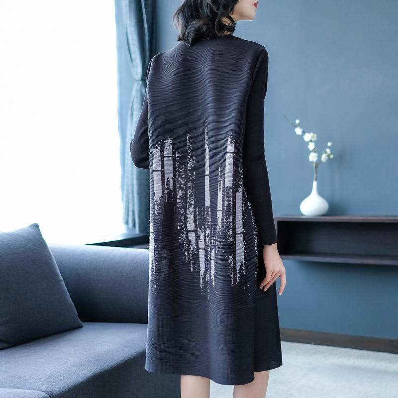Perles Élégante Plus Printemps Miyake Longues Manches Robe gray De À 2019 Col Black Mode Imprimé La Femmes Rond Nouveau Lâche Plis Taille pwHqxt0dx