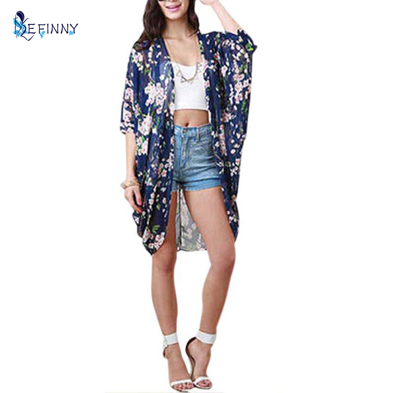 a8c5aaf8cda9 EFINNY moda mujer verano blusa playa Boho Kimono Cardigan Floral estampado  media manga Casual suelta larga blusas de playa
