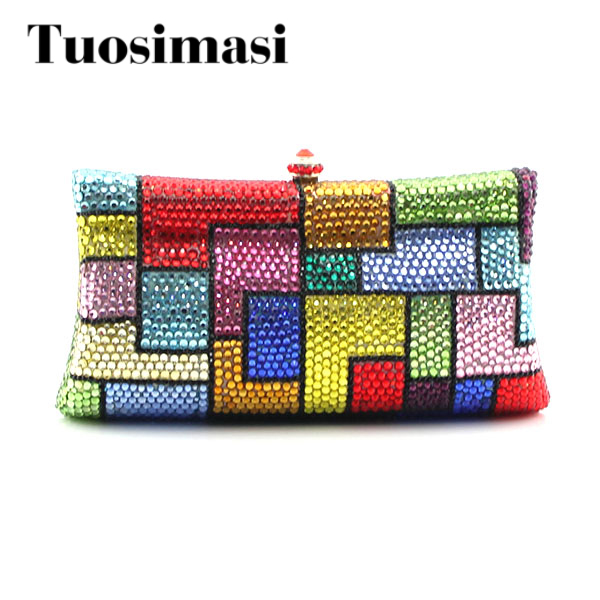 Colorful Grid Crystal Evening Bags Clutch Handbags Chain Shoulder Bag For Bridal Party Day Clutches women colorful handbags crystal beaded day clutches ladies chain evening bags messenger bags clutch pouch purse wallets for lady