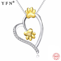 Genuine 925 Sterling Silver Love Heart Crystal Pendants Necklaces Gold Animal Paw Print Lovely Necklace Jewelry Women PYX0217