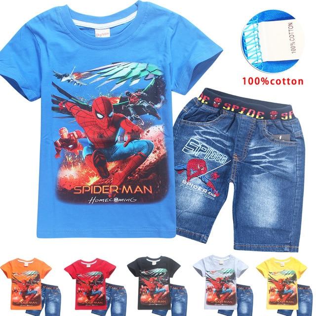 84e41d0a3f087 Garçons de bande dessinée casual costume Spider-Man Coton à manches courtes  T-shirt