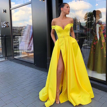 Sexy Yellow Prom Dresses Off The Shoulder Simple Satin Front Split Gowns Long Women Formal Party Cheap Robe De Soiree