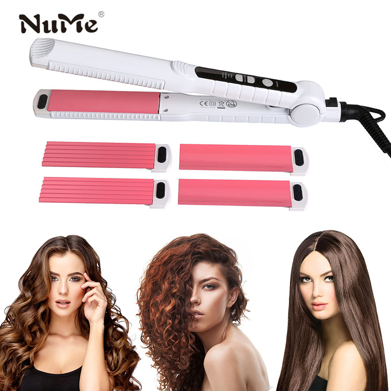 Ceramic Hair Curler 3 in 1 Curling Iron Interchangeable Hair Straightener Corrugated Styling Tools Flat Iron Hair Salon Tools 3 in 1 professionals tourmaline ceramic hair straightener straightening corrugated iron hair curler styling tools 220v eu plug