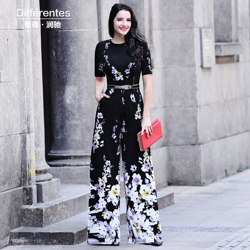 2017 summer print jumpsuit women's clothing slim O-neck short sleeve wide leg pants lady's fashion elegant trousers female