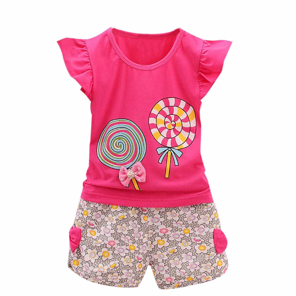 Lollipop Pattern T-Shirt Floral Shorts Set 2PCS Toddler Kids Baby Girls Outfits Lolly T-shirt Tops+Short Pants Clothes Set F4