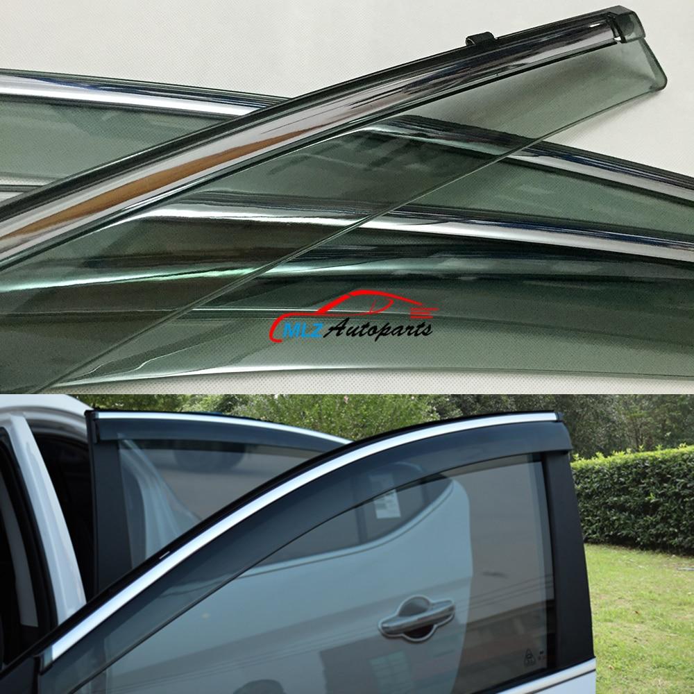 Sun Rain Visors Wind Deflector Door Side Window Guards Stainless Trim Shield 4pcs For Hyundai