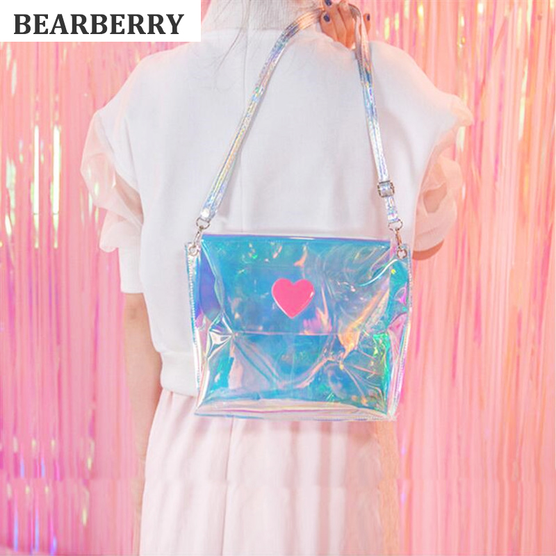 BEARBERRY 2017 Small Ladies Bags  Women Shoulder Bag Clear Satchel Girls Summer lovely heart Crossbody Bag Mini Handbag MN584 купить