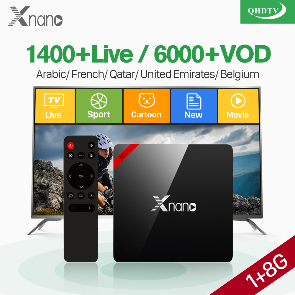 Arabic France IPTV Box Smart Android XNANO Amlogic S905X Quad Core 2.4G WIFI IPTV Arabic Belgium French 1 Year QHDTV Code IP TV belgium culture smart