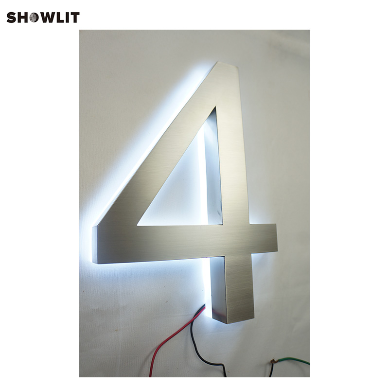Outdoor 304 Stainless Steel LED Halo Lit House Number SignageOutdoor 304 Stainless Steel LED Halo Lit House Number Signage