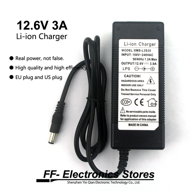 12.6V 3A 3 series lithium battery charger 18650 battery charger 12.6V charger 3A current DC 5.5*2.1MM  + EU plug