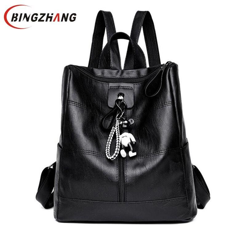 Women Multifunction Backpack Female Zipper School Bag Leather Shoulder Bag Large Capacity Backbag Girl Travel Bag Mochila L8-135