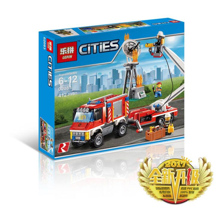 Lepin 02083 City Series Heavy Fire Engine Rescue Truck DIY Building Blocks Bricks Toys For Children LegoINGlys 60111 hot city fire rescue ladder engine truck building block fireman figures bricks educational toys for children gifts