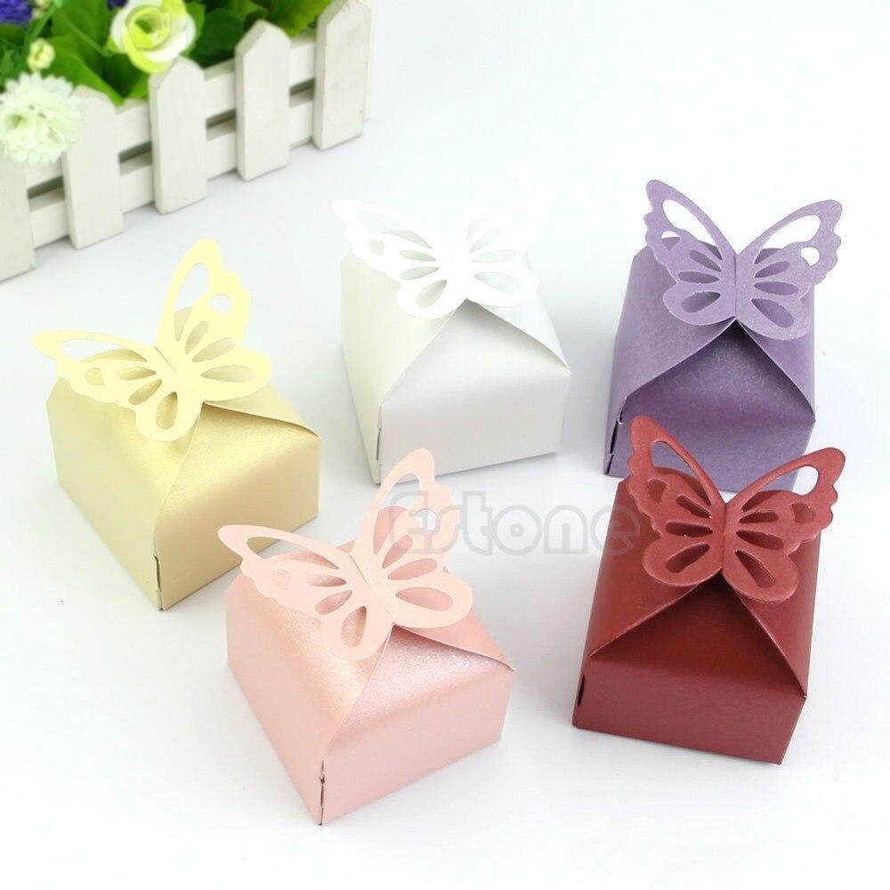 unids estilo mariposa regalo del favor del caramelo cajas de torta para la fiesta de