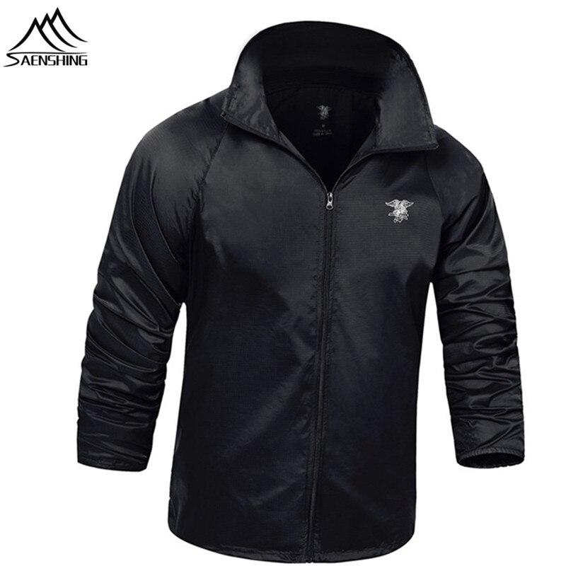 Prix pour Saenshing veste imperméable hommes militaire tactique peau veste respirant peau veste de pluie vêtements de chasse en plein air coupe-vent