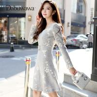 Dabuwawa Grey Winter Long Sleeve Floral Print Dress V Neck Vintage Dress With Belt Embroidery Dress Vestidos