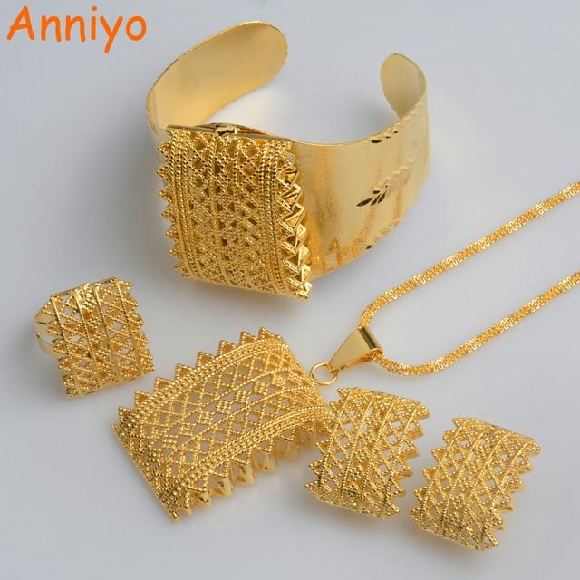 Anniyo ensemble de couleurs or éthiopien, nouveau, pendentifs, colliers, boucles doreilles, bague bracelet, bijoux Habesha, cadeaux de mariage érythréen, #056502