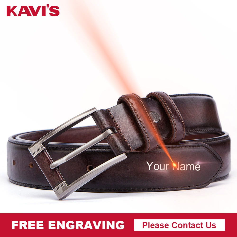 Free Engraving KAVIS 2019 New Fashion Pin Buckle Men   Belt   Genuine Cow Leather Luxury Strap Male   Belts   For Male Brand Designer