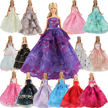 Fashion 15 Items/Set Doll Accessories=5 Dresses Random Pick +10 Shoes Wedding Noble Party Gown Clothes For Barbie Doll Outfit nk one set original princess doll dress noble party gown for barbie doll fashion design outfit best gift for girl doll