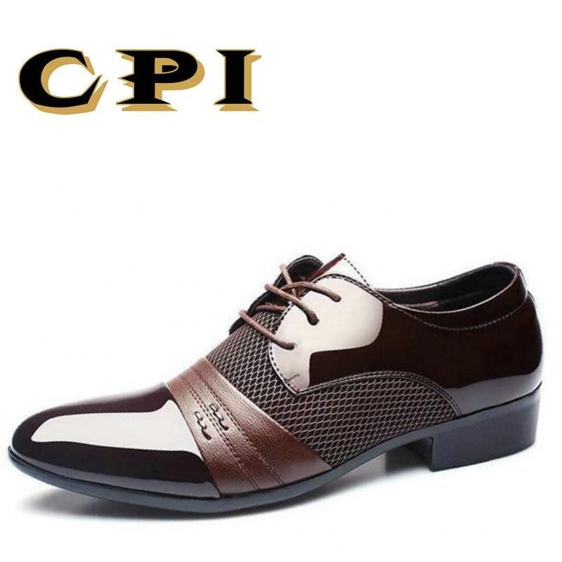 CPI 2018 New men's dress leather shoes Fashion Men Wedding Dress Shoes Comfortable Breathable Men's banquet shoes ZY-20