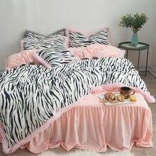 Comfortable Fleece Fabric Flannel Bedding Set Black White Zebra Pattern Duvet Cover Pink Gray Green Bed Skirt Pillowcases 3/4pcs