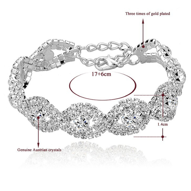 TOUCHEART Crystal Bracelets For Women Femme Silver Plated Charm Bracelets Bangles Wedding Jewelry With Stones 2017 SBR140169